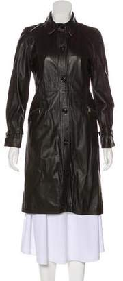 Burberry Knee-Length Leather Coat