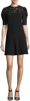 Rebecca Taylor Short-Sleeve Crepe Short Dress with Lace