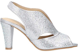 Arabella Carvela Comfort Embellished Cone Heel Open Toe Court Shoes, Silver