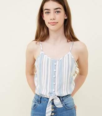 New Look Girls White Stripe Button Tie Front Cami
