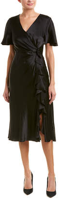 Prabal Gurung Ruffle Silk Midi Dress