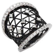 Fratelli Staurino 18k Moresca Openwork Ceramic Ring, Size 7