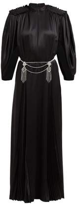 Gucci Embellished Back Silk Satin Gown - Womens - Black