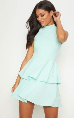 PrettyLittleThing Mint Sleeveless Shoulder Pad Detail Tiered Skater Dress