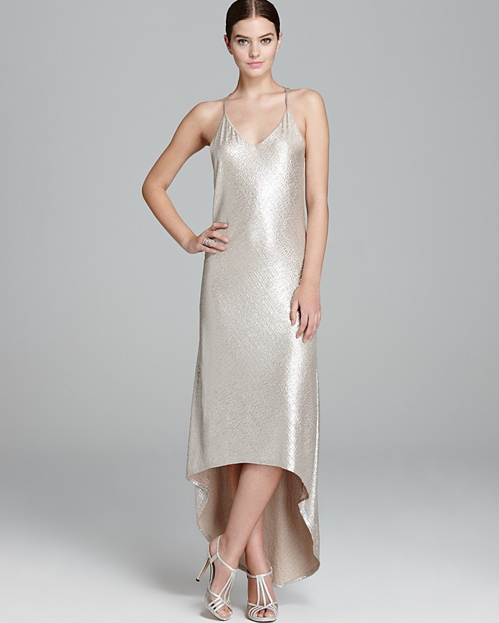 Alice + Olivia Dress - Lena Metallic High Low