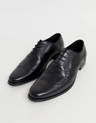 Asos Design DESIGN oxford brogue shoes in black leather