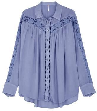 Free People Katie Bird Blue Crochet-insert Shirt