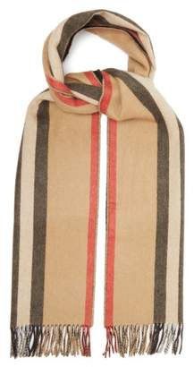 Burberry Reversible Icon Stripe Cashmere Scarf - Womens - Beige