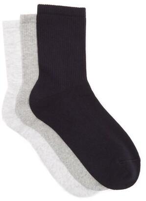Raey Set Of Three Sea Island Cotton Blend Socks - Womens - Grey Multi