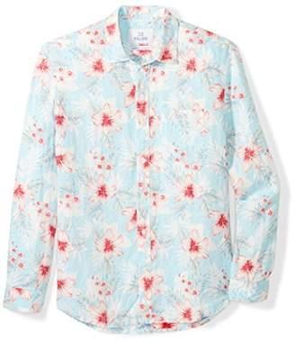 28 Palms Men's Relaxed-Fit Long-Sleeve 100% Linen Reverse Print Shirt