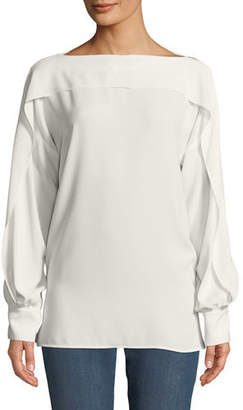 Escada Ruffled Long-Sleeve Blouse