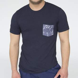 Blade + Blue Navy Blue with Flying Birds Print Pocket Tee