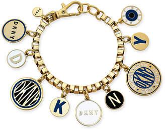 DKNY Gold-Tone Multi-Charm Logo Bracelet
