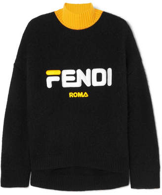 Fendi Fila Embroidered Wool And Cashmere-blend Turtleneck Sweater - Black