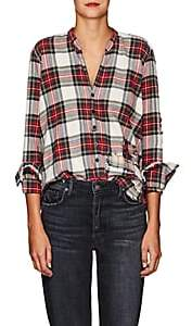 Greg Lauren Women's Christian Plaid Cotton Studio Shirt - Red