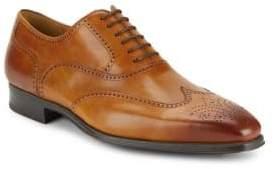 Burnished Calfskin Leather Wingtip Shoes