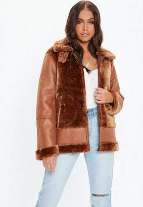 Missguided Brown Faux Fur Ultimate Aviator Jacket