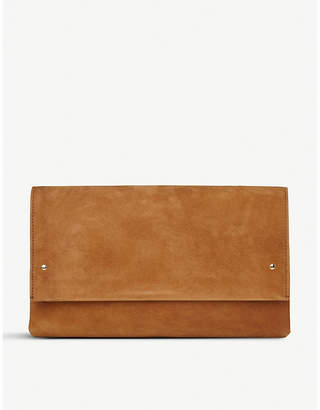 LK Bennett Brown Madeline Suede Clutch Bag