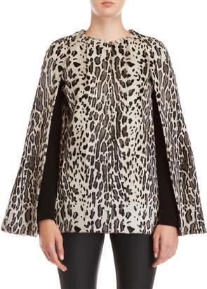 Yves Salomon Real Fur Leopard Print Cape Coat
