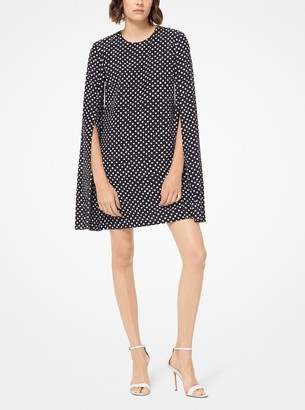 Michael Kors Polka Dot Crepe De Chine Cape Dress