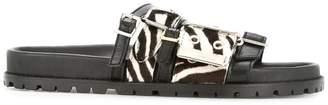 Sacai zebra print strappy slides