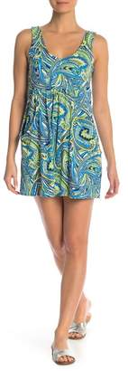 J Valdi Paisley Print Scoop Neck Dress