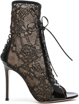 Gianvito Rossi Lurex & Patent Loulou Lace Up Ankle Boots in Black | FWRD