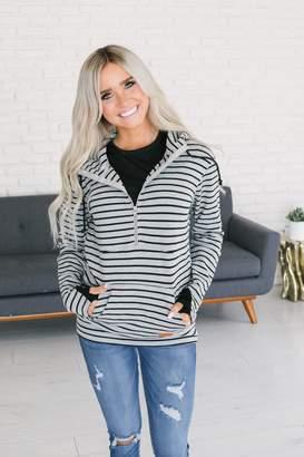 Ampersand Avenue HalfZip Hoodie - Charcoal & Black Stripe