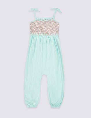 Marks and Spencer Pure Cotton Shirring Jumpsuit (3 Months - 7 Years)