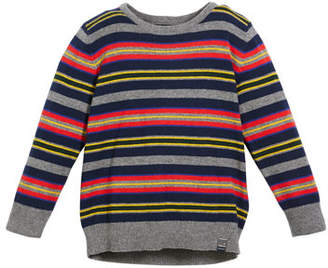 Mayoral Multi-Stripe Crewneck Sweater, Size 3-7