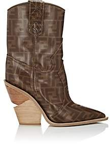 Fendi Women's Heeled Coated Canvas Cowboy Booties - Brown