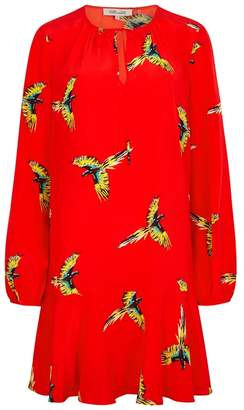 Diane von Furstenberg Red Bird-print Silk Mini Dress