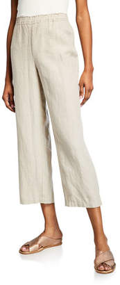 Eileen Fisher Cropped Organic Linen Straight-Leg Pants, Plus Size
