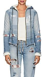 Greg Lauren Women's Sherpa-Lined Patchwork Denim Hoodie - Blue