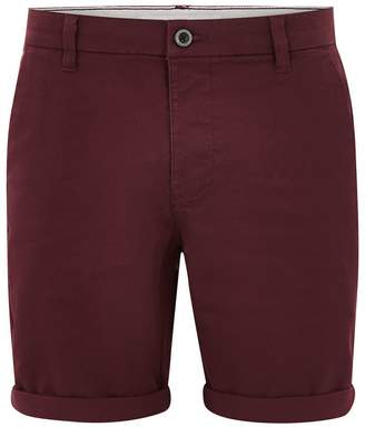 Topman Burgundy Stretch Skinny Chino Shorts
