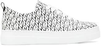 MSGM logo printed lace-up sneakers
