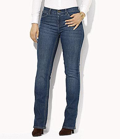 Lauren Ralph LaurenLauren Ralph Lauren Plus Super-Stretch Classic Straight-Leg Harbor-Wash Jeans