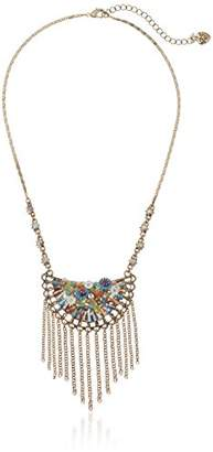 Betsey Johnson Weave and Sew Woven Mixed -Colored Bead Flower Fringe Necklace