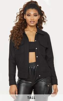 PrettyLittleThing Tall Black Pocket Detail Jacket