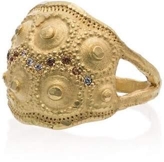 Orit Elhanati 18K yellow gold shell imprint diamond sapphire ring