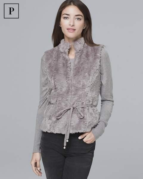Whbm Petite Faux Fur Vest