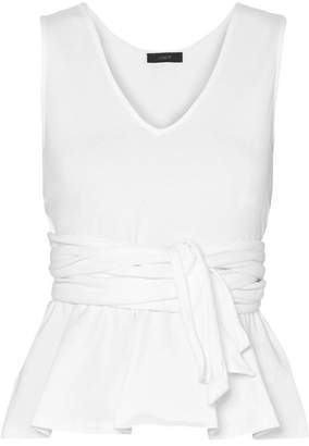 J.Crew Claire Tie-front Cotton-jersey Top - White