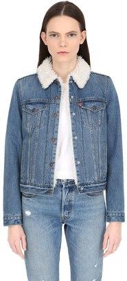 Faux Shearling & Cotton Denim Jacket