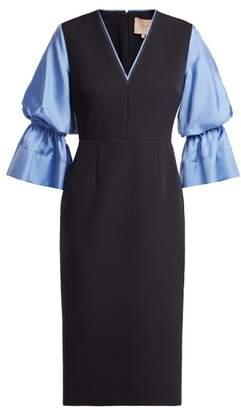 Roksanda - Dania Silk Blend Crepe Midi Dress - Womens - Navy Multi