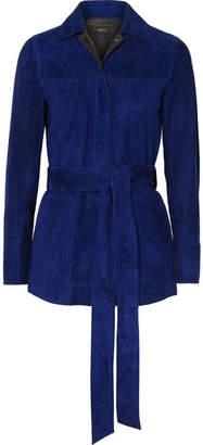 Akris Belted Suede Jacket - Blue