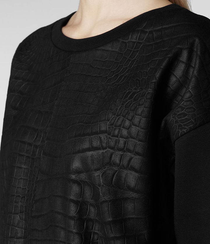 AllSaints Franklin Leather Sweat
