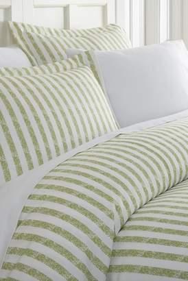 IENJOY HOME Home Spun Premium Ultra Soft 3-Piece Puffed Rugged Stripes Duvet Cover Queen Set - Sage