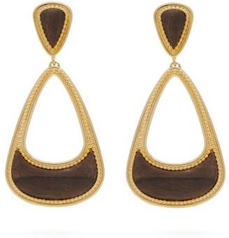 Joelle Gagnard Kharrat - Pera Gold Plated Wooden Drop Earrings - Womens - Gold