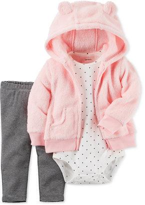 Carter's 3 Pc. Faux Fur Hoodie, Bodysuit & Leggings Set, Baby Girls (0-24 months) $32 thestylecure.com