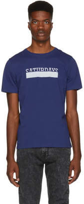 Saturdays NYC Blue Saturdays Bar Overlap T-Shirt